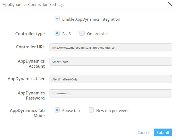 appdynamics connection settings