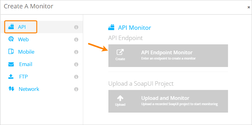 Creating an API endpoint monitor in AlertSite