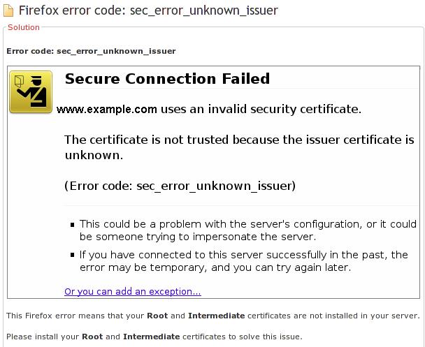 Error code: sec error unknown issuer