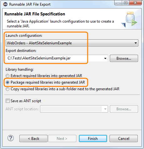 Export Eclipse Java Project as Runnable JAR | AlertSite Documentation