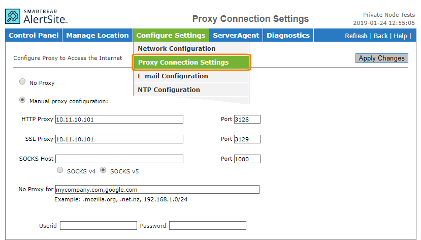Configuring Private Node Server on Your Network | AlertSite