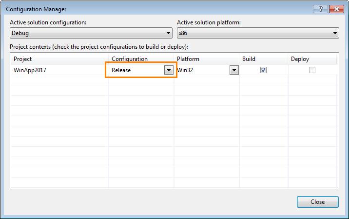 Compiler Settings for Microsoft Visual C++ 2017 | AQTime