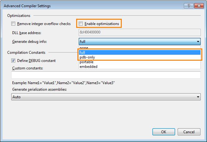 Compiler Settings for Microsoft Visual Basic 2005 - 2017