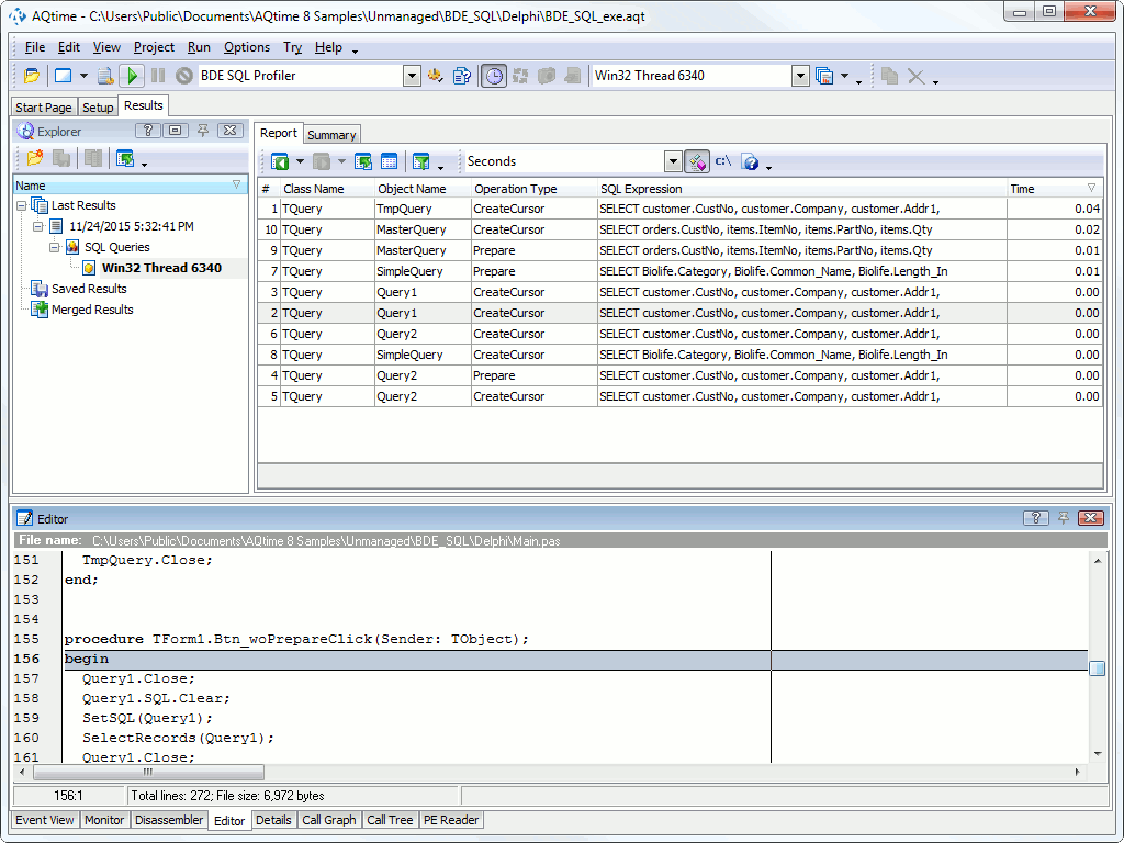 BDE SQL Profiler Tutorial: 2 - Analyzing Results | AQTime Documentation