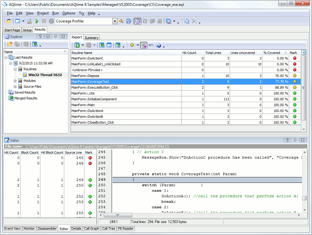 Coverage Profiler Tutorial: 2 - Analyzing the Profiling Results