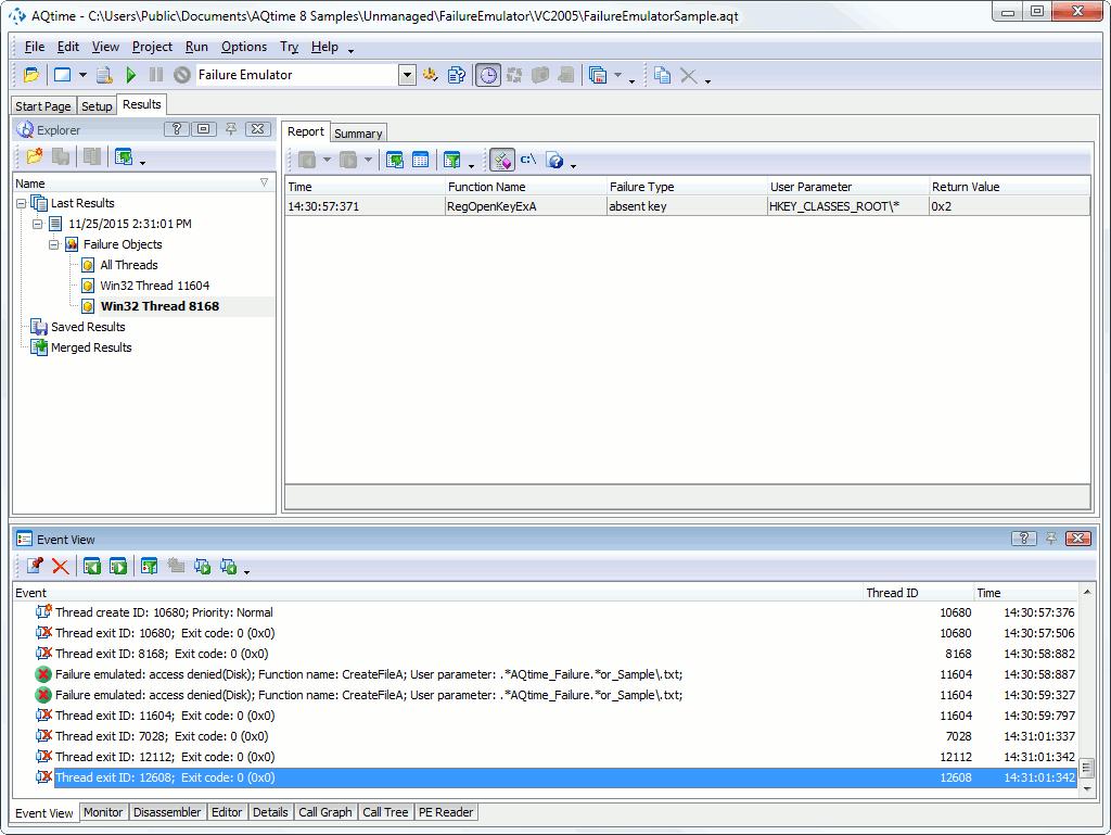 Failure Emulator Profiler Tutorial: 2 - Analyzing Results of