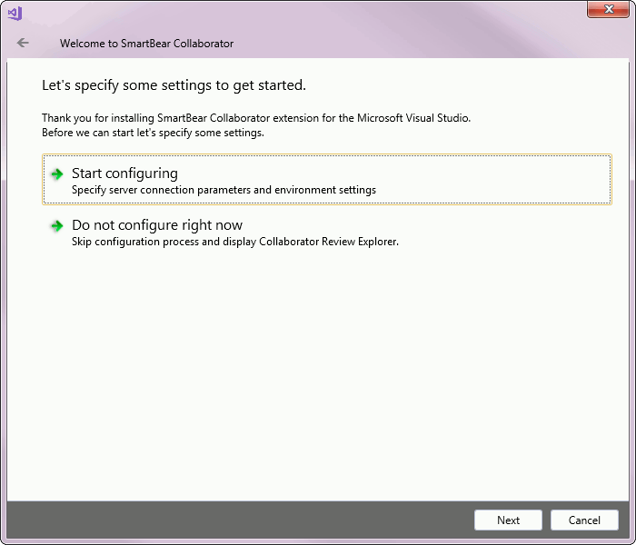 Configure Visual Studio Extension   Collaborator Documentation