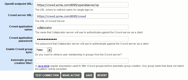 Configure Single Sign-On via Crowd OpenID | Collaborator