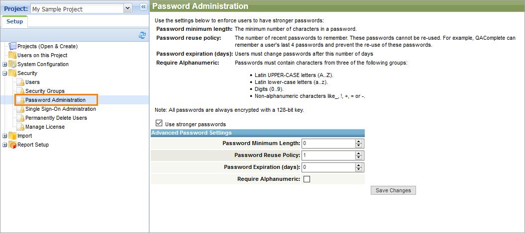 Password Administration | QAComplete Documentation