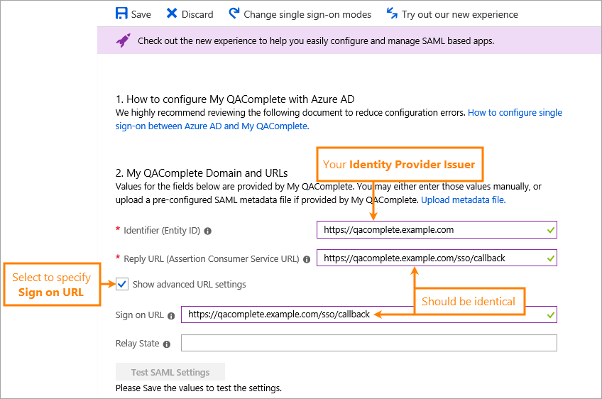 Configure QAComplete Application in Azure Active Directory