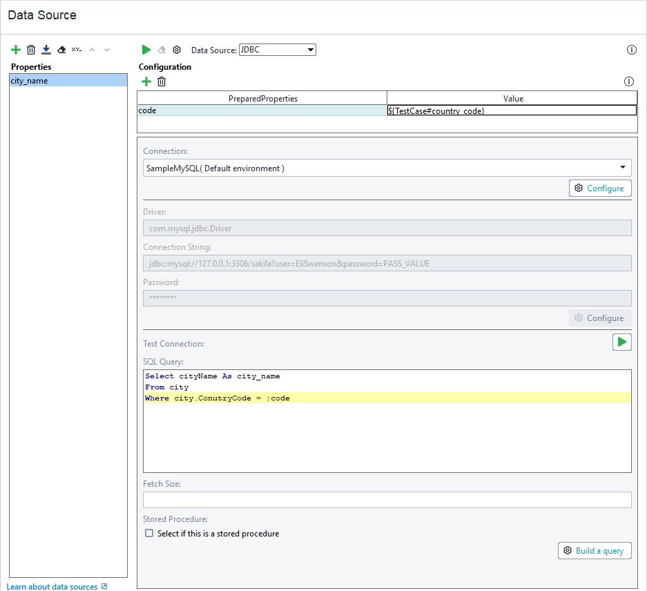 JDBC Data Source | ReadyAPI Documentation