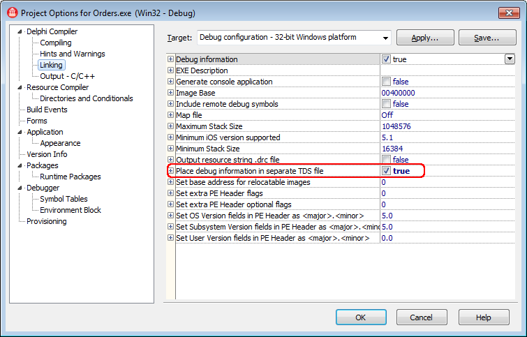 Compiling Delphi XE6, XE7, XE8 and 10 Applications With Debug