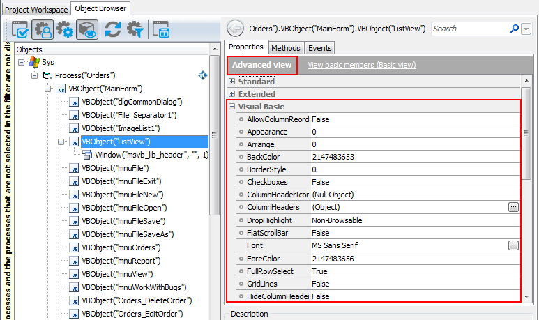 Accessing Native Properties and Methods of Visual Basic Objects