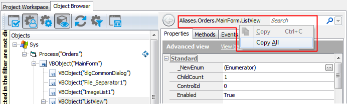 Addressing Objects in Visual Basic Applications | TestComplete