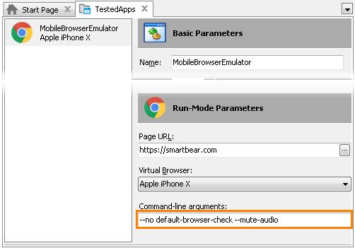 Specifying Additional Parameters for Mobile Browser Emulator