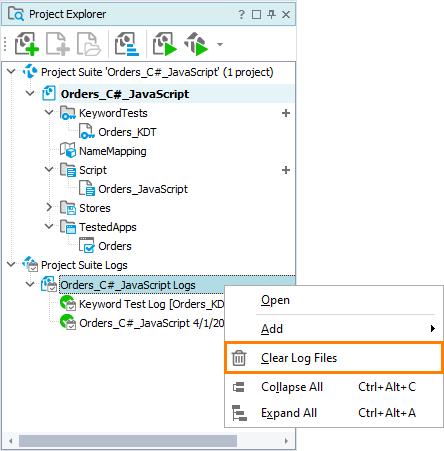 Managing Log Files   TestComplete Documentation