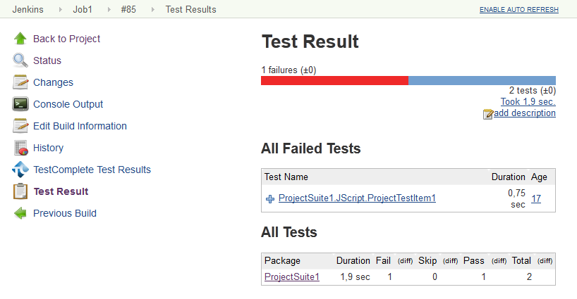 Viewing TestComplete Test Results in Jenkins | TestComplete