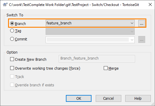 Working With Branches | TestComplete Documentation