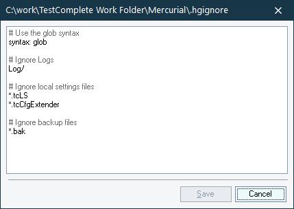 Ignoring Certain Files And Folders | TestComplete Documentation