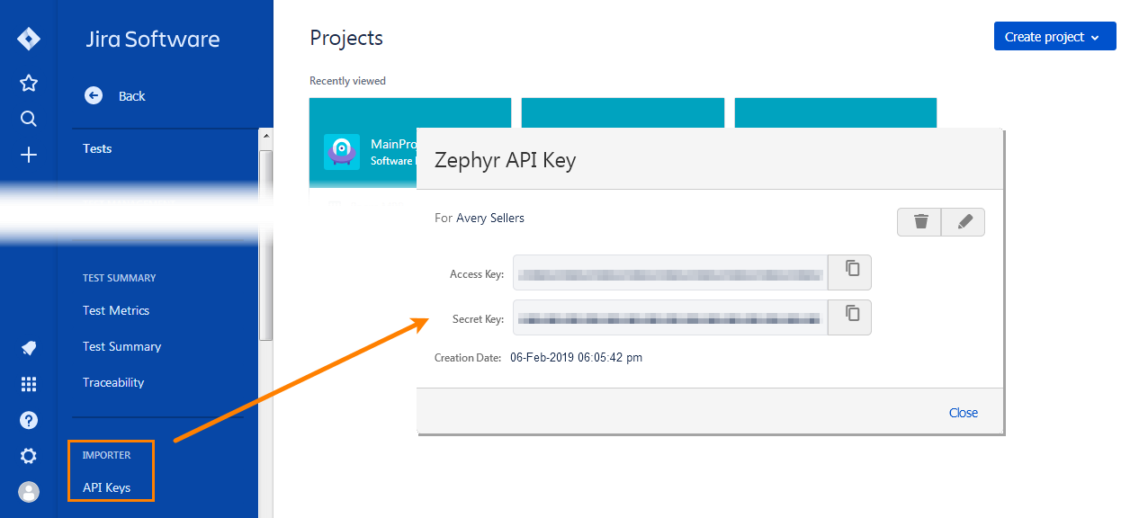 Copy the Zephyr access keys from Jira to TestComplete