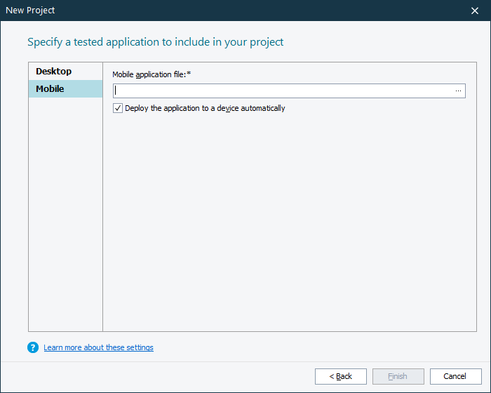 Create New Project Wizard - Mobile Application Parameters