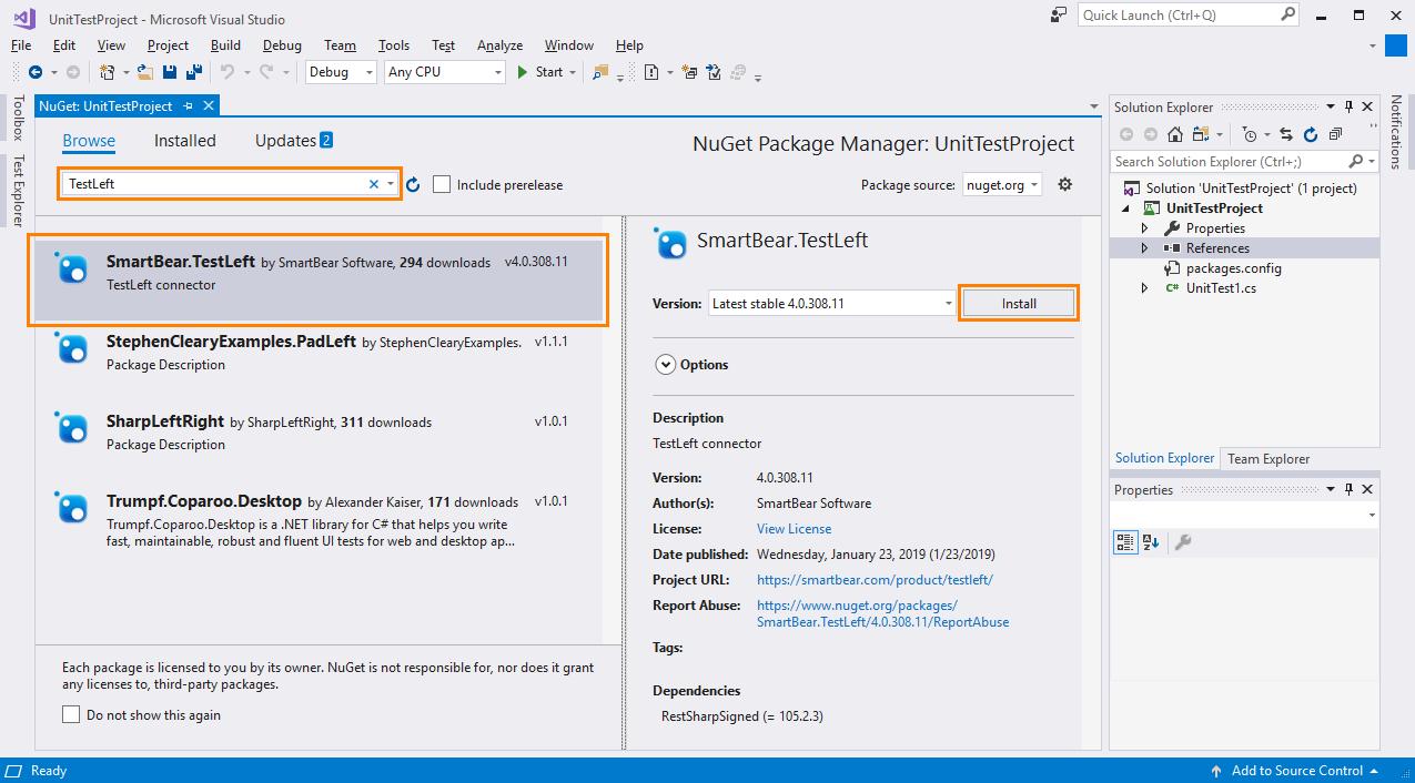 Install TestLeft Package via NuGet | TestLeft Documentation