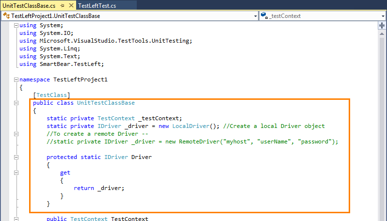 2. Write Test Code | TestLeft Documentation